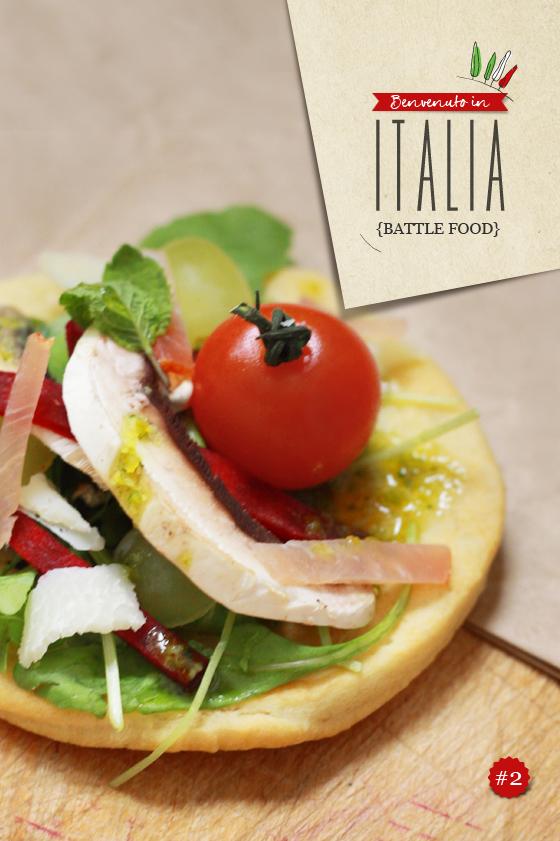 Pizza salade FOCCACIA, MÉLI MÉLO DE CRUDITÉS ET PESTO DE PISTACHES {Battle food #2}