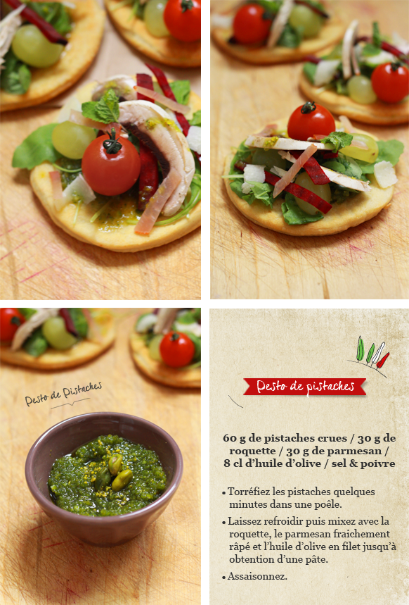 Pizza salade Compo FOCCACIA, MÉLI MÉLO DE CRUDITÉS ET PESTO DE PISTACHES {Battle food #2}
