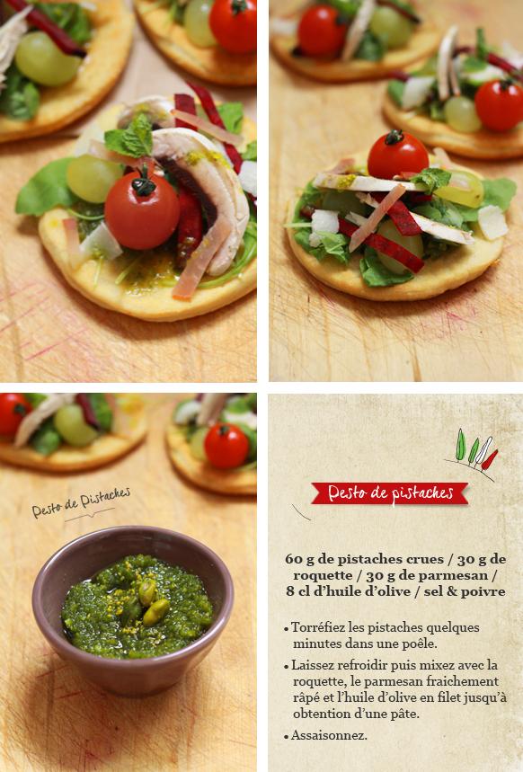 Pizza salade Compo FOCCACIA, MÉLI MÉLO DE CRUDITÉS ET PESTO DE PISTACHES {Battle food #2}
