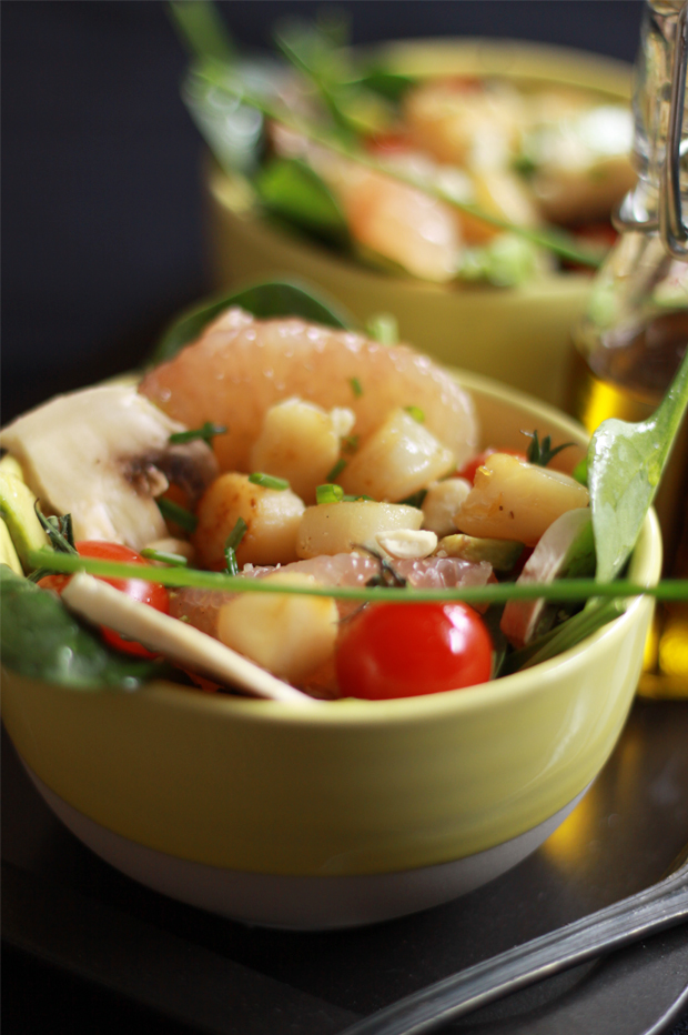Salade de St Jacques aux agrumes3 SALADE DE ST JACQUES AUX AGRUMES