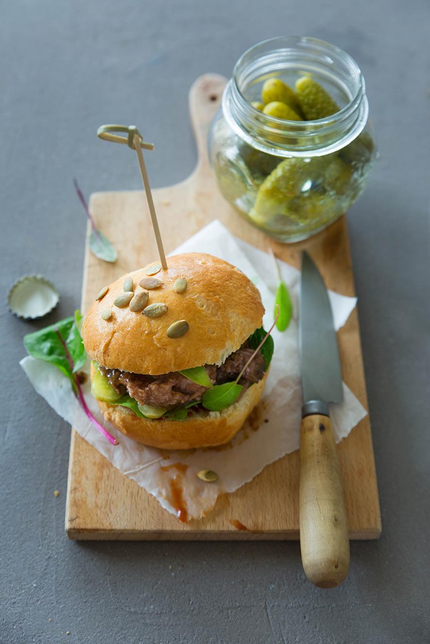 Pulled pork burger, buns à la farine de maïs ©Fraise & Basilic