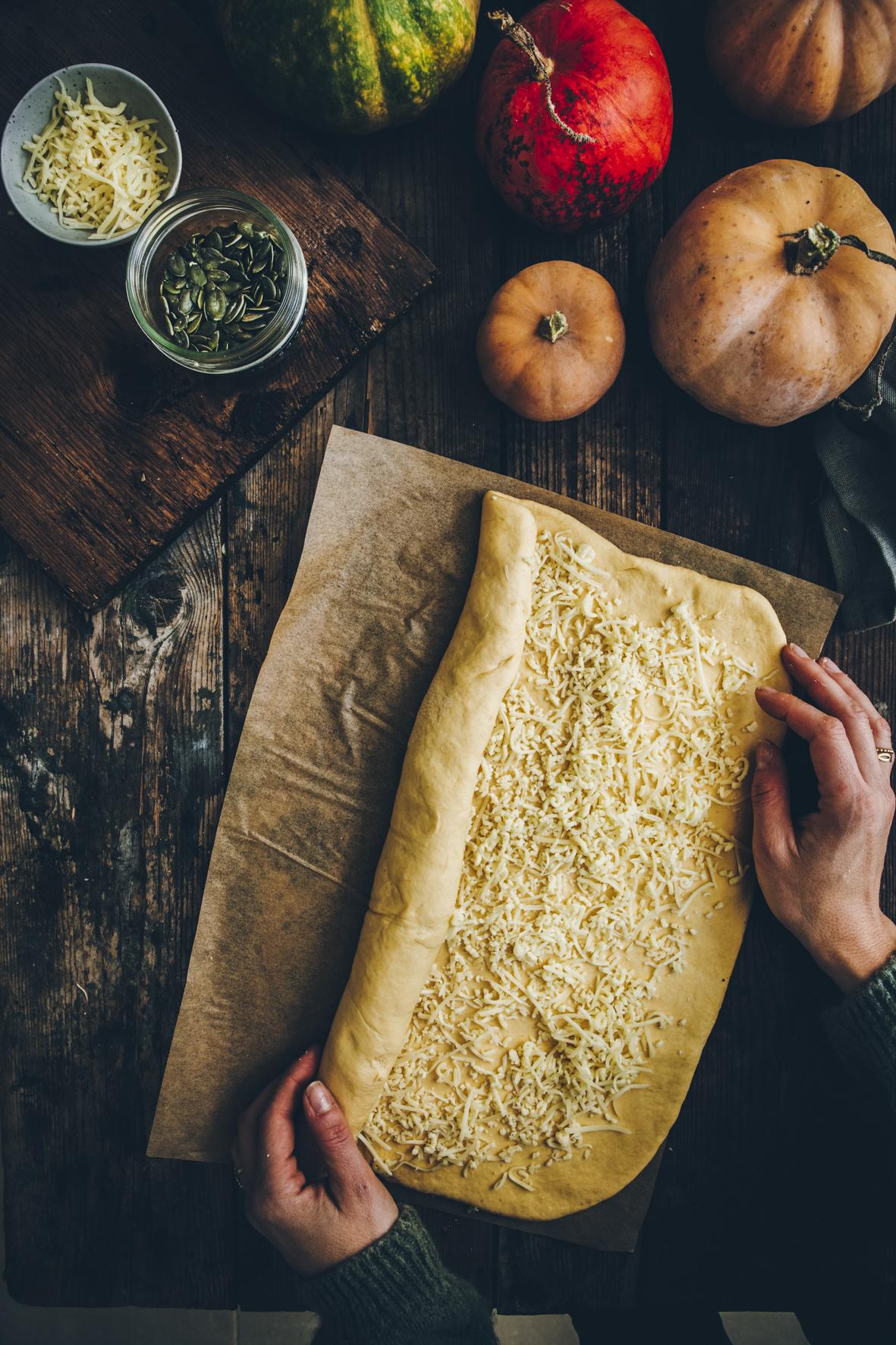 Brioche roulée à la courge et au fromage ©Sandrine Saadi