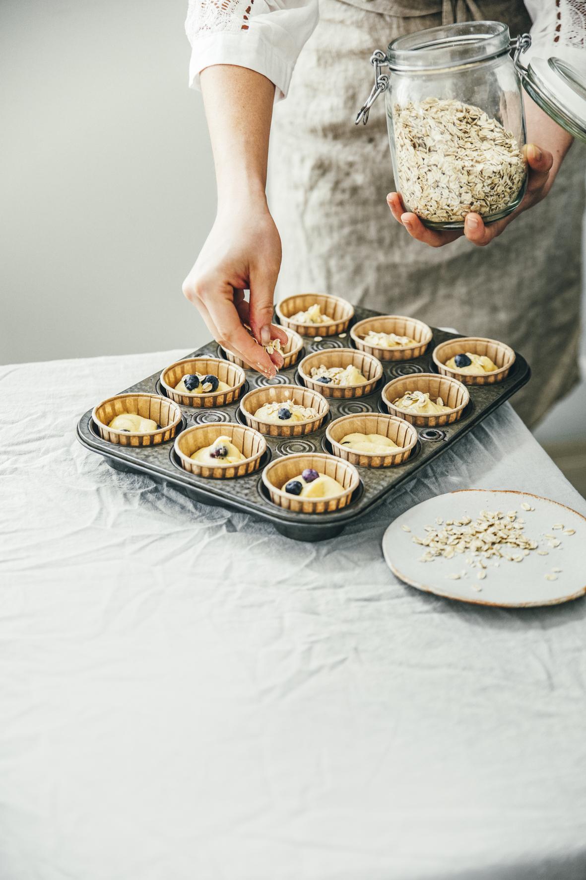 Muffins aux myrtilles et aux flocons d'avoine ©Sandrine Saadi