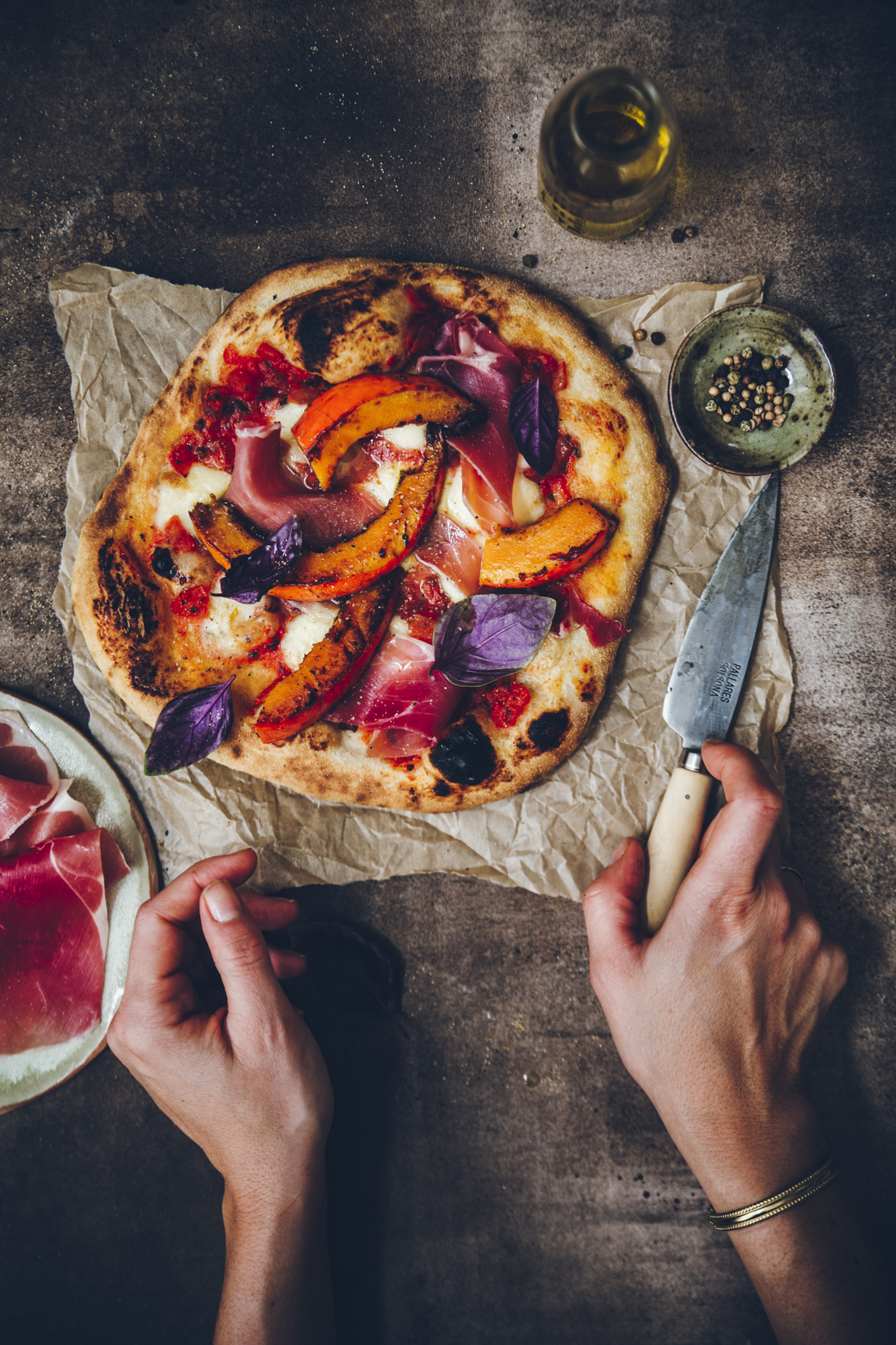 Pizza d'automne au potimarron et au jambon serrano ©Sandrine Saadi